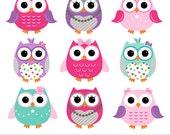 Girly Pink Purple Owls Digital Clipart - Clip Art
