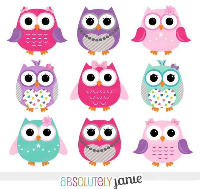 Girly Pink Purple Owls Digital Clipart Clip by AbsolutelyJanie