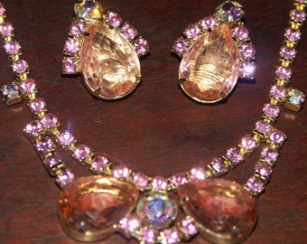 ON SALE!! Radiant Pink AB Rhinestones & Glass Necklace and Earrings, 1950s Demi Parure