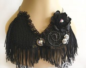 Extravaganza  black  tassel necklace, peter pan collar necklace, statement necklace