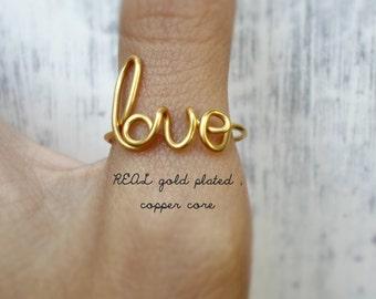Bridesmaids gifts / Big Lil sorority / Gold Love Ring, Toe Ring , Word Rings, Bridesmaids Jewelry, Love Ring, Weddings, Cursive Word Ring