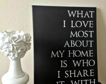 "16x20 Quote Canvas - ""What I Love Most About My Home Is Who I Share It With"""