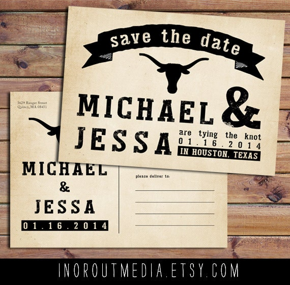 Rustic Save the Date, Save the Date card - The Longhorn - Rustic Save the Date postcard, vintage, rustic wedding, texas wedding, eco