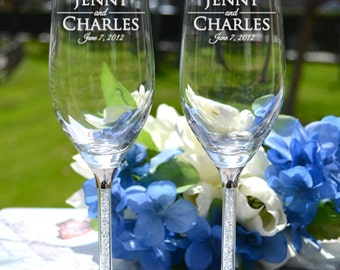 Personalized Crystal Toasting Flutes - (Set of TWO) Crystal Champagne Glasses - Personalized Wedding Gift - Wedding Glasses - Couples Gift