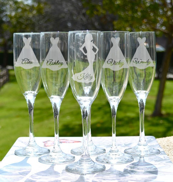 Wedding Gift Champagne Flutes: Bridesmaid Gift Personalized Toasting Glass X1 By