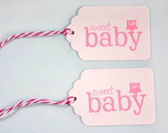 10 Pink Baby Shower Tags, Sweet Baby Owl Gift Tags, Pink Baby Girl Shower, Owl Tags, Favor Tags, Owl Baby Shower