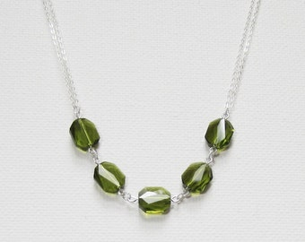Sterling Silver Swarovski Necklace Swarovski Green Necklace Crystal Bridal Necklace Swarovski Crystal Necklace Elegant Swarovski Necklace