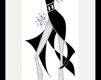 Art Fashion Illustration - Fashion Design - Little Black Dress - Black - Mauve - Home Decor - Wall Art - Chouette 2