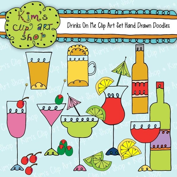 Cute Party Drinks Clip Art Set, clipart, clip art, party clip art, wine clipart, scrapbooking, card making, party invitations