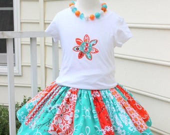 skirt set girlsoutfit skirt flower applique top embroidered shirt with skirt girl birthday outfit orange aqua turqoise