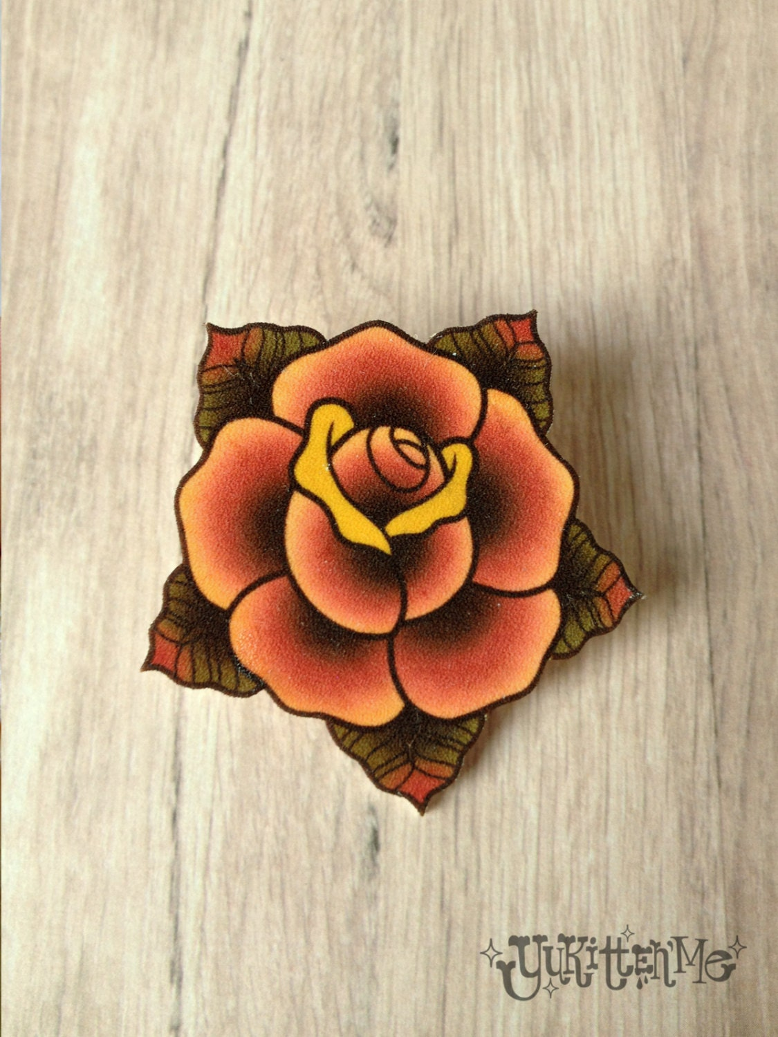 Traditional Rose Tattoo Brooch by Yukittenme on Etsy