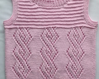 Knitted Tank Top Cotton Candy Girls Lace Vest Girls Lace Top Pink Sweater Vest Size 2-3 Years (2T) Girls Summer Top Sleevless Pullover