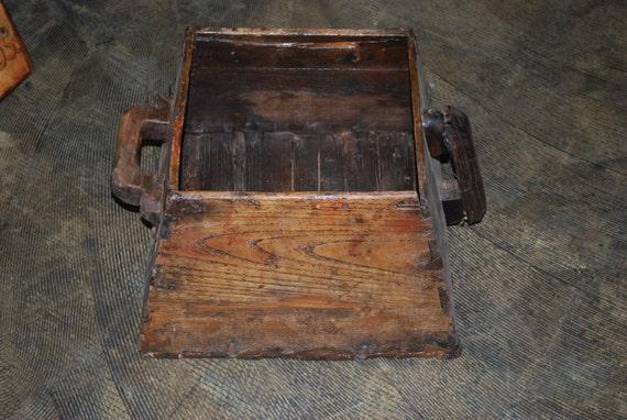 Wood Bucket Vintage Rice Bucket with Handles