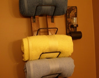 Bathroom Towel Rack made from reclaimed wooden wine barrels