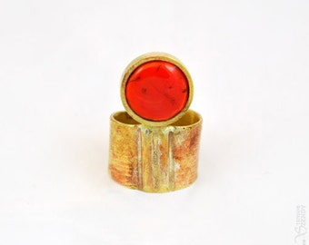 Troisième oeil - Bague ronde orange bronze réglable