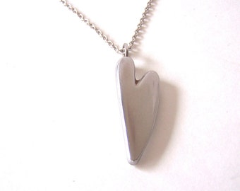 Heart Pendant and Necklace Made From Upcycled Stainless Steel Metal.