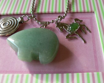 Pony Charm and Bear Pendant Necklace