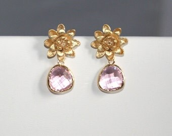 Lotus blossom earrings with pink briolettes