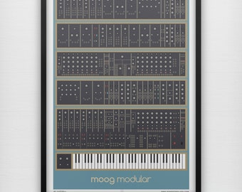 Moog Modular Art Print Analog Synth Vintage Graphic Poster Home Geek Music Retro Keyboard Musical Instrument Musician Mid Century ALL SIZES