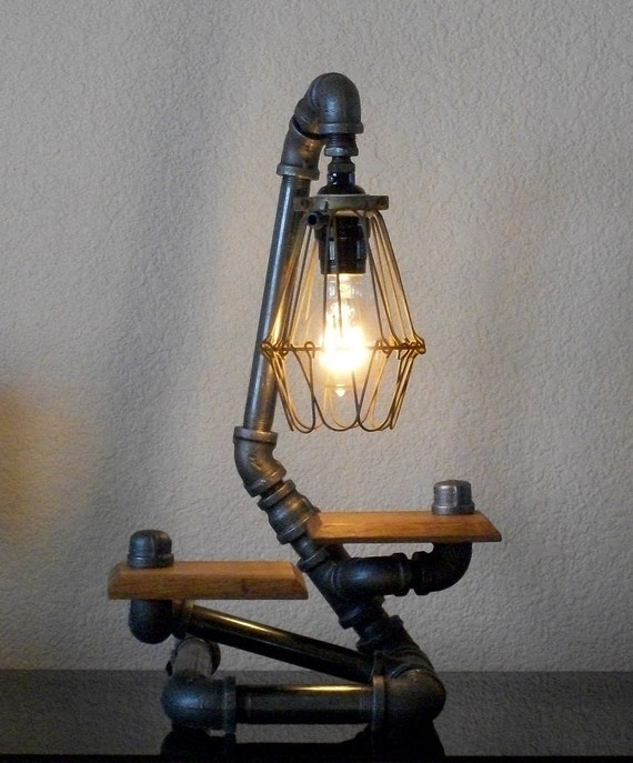 Industrial Coffee Table Lamp: Items Similar To Industrial Desk Table Lamp With Hardwood