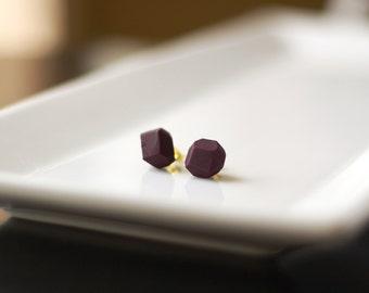 Plum Geometric Stud Earrings - Geo Earrings - Simple - Minimalist - Modern - Lightweight