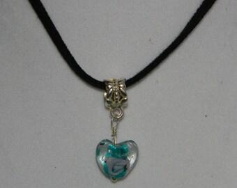"Clear Lampwork Aqua Blue Heart Charm Bead 18"" Black Leather Cord (N58)"