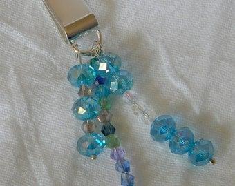 Aqua Blue Dreams Iridescent Beaded Metal Bookmark Clip (MB007)