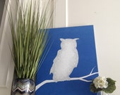 White Owl Silhouette on Blue Abstract Original Painting