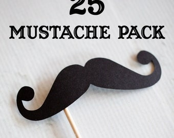25 Mustaches on Sticks (Black) // Mustache on a Stick // Wedding Photobooth Props