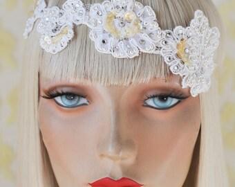 MISS MARTINI Vintage Inspired Head Piece,Great Gatsby,Flapper,Bridal,wedding,1920s,lace,pearl,swarovski crystal