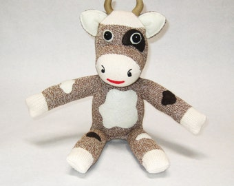 Stuffed cow toy Rockford Red Heel sock animal Stewart the Bull sock monkey brown cow baby OOAK shower gift happy toys for boys and girls