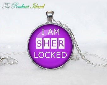 SHERLOCK HOLMES Pendant Sherlock Holmes Necklace Fantasy Purple White for him Art Gifts for Her for men