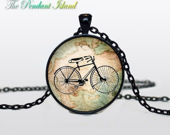 BICYCLE PENDANT bicycle pendant bicycle jewelry Vintage Bicycle necklace glass  pendant, bicycle jewelery, bicycle jewellery