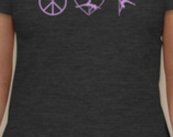 Peace Love Pole Dancing T-Shirt Size LARGE