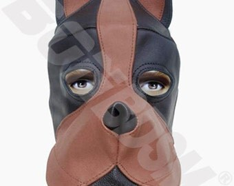 bdsm black and brown DOG mask hood with silicone mouth gag, leather fetish bondage gimp mask hood, Mature