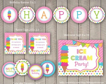 Ice Cream Party Package / Ice Cream Birthday Pack / Ice Cream Party Decoration / Ice Cream Party Printable / Ice Cream Printable