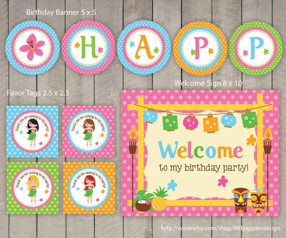Tropical Themed Party Ideas Free Printables: Luau Party Package / Luau Birthday Pack / Luau Party