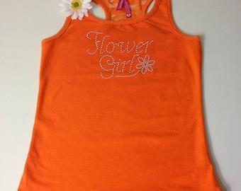 Flower Girl Tank . Flower Girl Shirt . Custom Flower Girl Rhinestone Lace Tank . Flower Girl gift