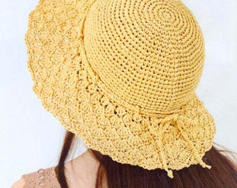 download pdf pattern of hat, crochet summer sun hat pattern,straw hat pattern,straw summer hat pattern