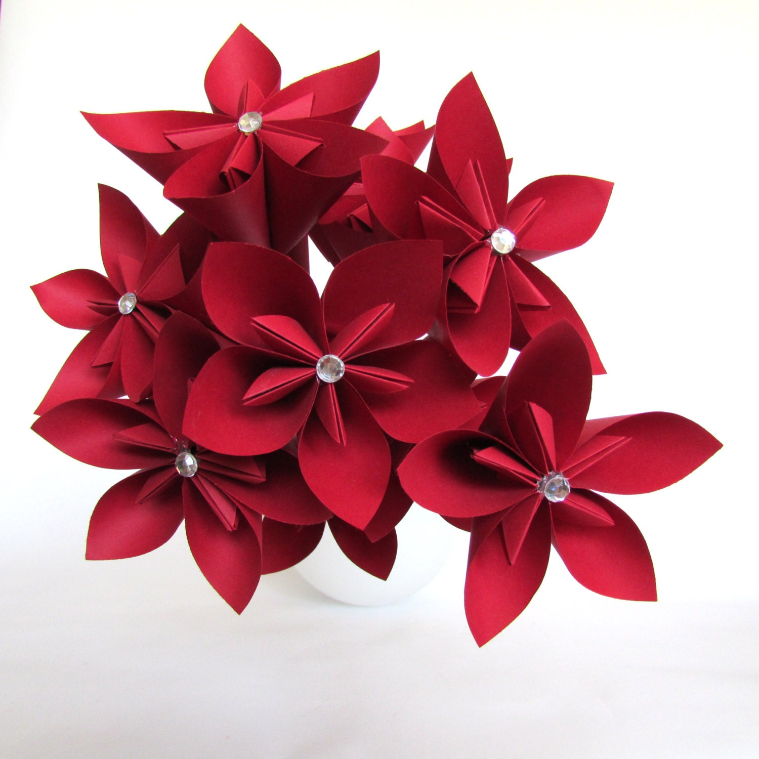 Red Origami Bouquet Paper Flower Bouquet by HappinessInBloom