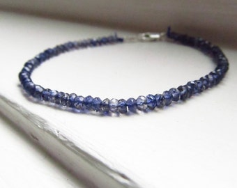 Iolite bracelet blue silk thread silver drape stacking water sapphire