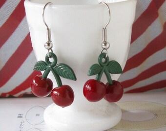 Dark Red Cherry Dangle Earrings
