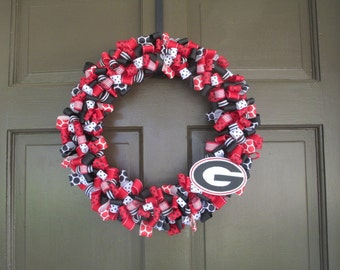 UGA Ribbon Wreath (University of Georgia/DAWGS) - Collegiate Wall Decor