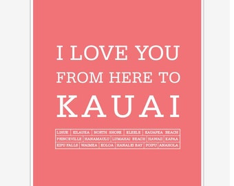 Hawaiian islands travel poster Kauai art print and wall decor