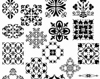 Embellishment Clip Art , Design Elements Clip Art -INSTANT DOWNLOAD-24 Individual  Embellishments -Personal or Commercial Use