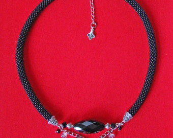 Black agate bead necklace Black rope necklace  Black jewelry beads Mom gift Evening Beaded crochet necklace Crochet seed bead jewelry