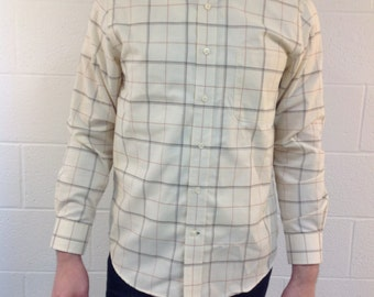 "L/S ""St. John's Bay"" White shirt with Brown and Red Stripes - medium"
