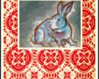 Red Bunny Greeting Card