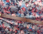 Misty meadow Sateen cotton fabric, 1 yard thin transparent batik-printed. Floral pattern of blue and red colors, misty gray background Boho