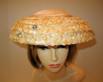 Vintage hat 1950s Peach Dish style hat/Vintage Peach hat